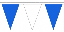 Blue and White Traditional 20m 54 Flag Polyester Triangule Flag Bunting